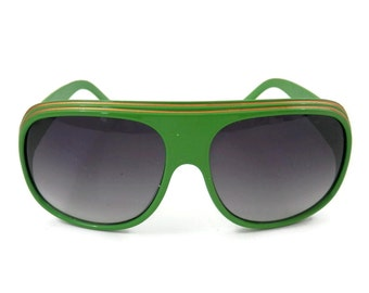 Retro Apple Green Sunglasses with Double Yellow Stripes