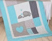 Aqua Gray Blanket, Elephant Quilt Blanket,  Chevron Baby Patchwork Blanket