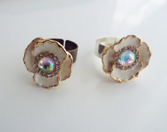 RING White Enamel and AB Glass Flower Ring Bronze or Silver