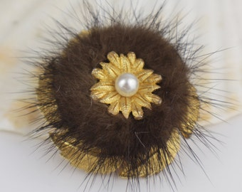 Small Gold Plated Mink Fur Round Brooch Pin Back Brooch