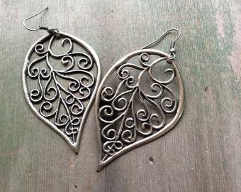 Swirl Leaf Earrings/Statement/Boho/Hippie