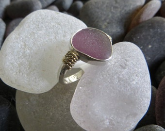 Size 7 Purple Sea Glass Ring with 18k Gold Accents
