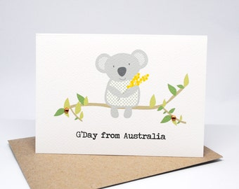 Australia Card | Koala holding wattle | AUS015 | G'Day from Australia Greeting Card | Aussie Card | Handmade Card | Australian Koala Card