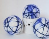 Organic Sapphire Blue Stripe Wool Dryer Balls Extra Large - Uncented or Scented w/ Essential Oils for Free (30+ Scents) Individual or Sets
