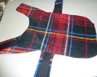 """Extra Small Winter Tartan Plaid Fleece Dog Coat in Red, Black, White, Yellow and Blue (16"""" Long)"""