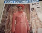 Vintage 1960's Vogue 2325 Fabiani Dress Sewing Pattern, Size 12, Bust 34