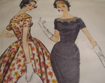 Vintage 1950's McCall's 4587 Dress Sewing Pattern, Size 18, Bust 38