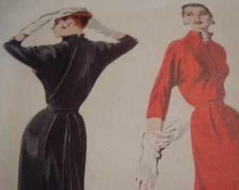 Vintage 1950's Butterick 7480 Dress Sewing Pattern, Size 16, Bust 34