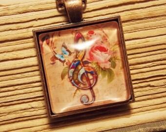 Treble Clef Tile Necklace