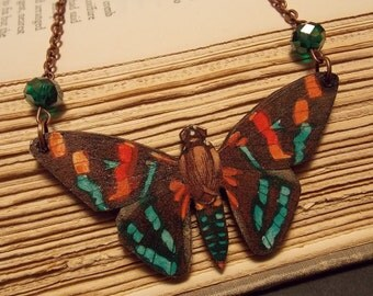 Copper and Green Wooden Moth Necklace