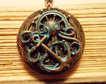 Bronze and Verdigris Octopus Locket