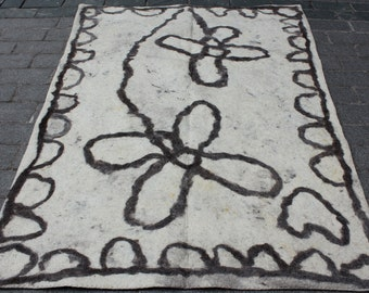 4.95' x 6.92' Felt Rug Old Felt Rug Anatolian Felt Rug Brown Cream Floor Covering Ethnic Felt FAST SHIPMENT with ups fedex - 10570