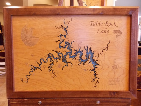 Wood Laser Cut Map Of Table Rock Lake Mo Topographical By Phds