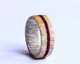 Deer Antler Ring, Wedding Ring With Purple Wood Inlay,  Deer Antler Wedding Band