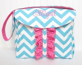 Personalized Chevron Lola Bea Diaper Bag in Blue and Pink for Girl or Design Your Own Interior Zippered Pocket