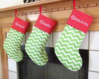 Personalized Christmas Stockings in Chevron Red and Green Family Stocking