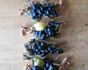 Vintage Majolica, Majolica Fruit Sculptures, Grape Vine, Fruit Decor, Kitchen Decor, Ceramic Fruit, Table Display, Centerpiece, Grapes