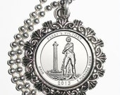 Perry's Victory and International Peace Memorial Quarter (Ohio) Art Pendant, USA Quarter Dollar Image, Round Photo Charm Necklace