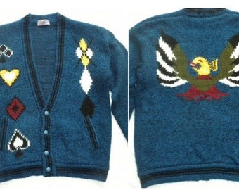 Vtg 70s Thunderbird Playing Cards Argyle Blue Wool Cardigan Sweater Size Medium