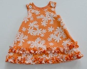 Hawaiian print dress for toddler or girl, Hawaiian jumper, OOAK, party dress, photo shoot, frangipani print, hem ruffles, size 3T only.