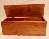 Wood Recipe Box - A Figured Cherry Two Compartment Recipe Box For 3 X 5 Cards