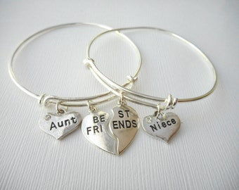 2 Aunt and Niece, Best Friends Bangles/ Aunts, Nieces, Niece birthday gift, gift for Aunt, Aunt gift, gift for Auntie, Auntie gift