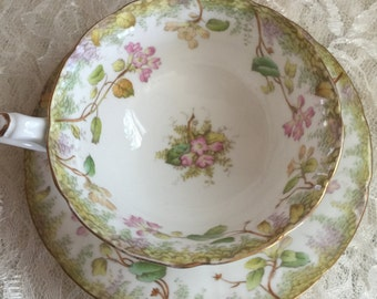 BEAUTIFUL Made in  CAULDON ENGLAND Cup/Saucer - Vintage China - Rich Briggs of Boston Cup and Saucer