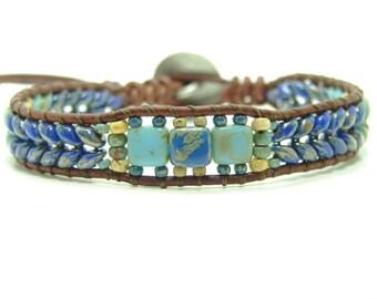 Dark Blue Super Duo Beaded Leather Wrap Bracelet, Herringbone Super Duo Beaded Single Wrap, Tribal Jewelry, Superduo Wrap Bracelet