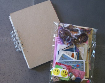 Handmade junk journal, smash book, travel journal or art journal includes a bag of 100 crafty bits and pieces