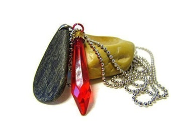 Vintage Charm, Teardrop Black Stone, Vintage Prism, Red Glass Prism, Prism Stone Necklace, Lake Michigan, 26 Inch or Less Chain, Elongated