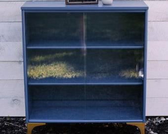 Blue Mid Century Bookcase