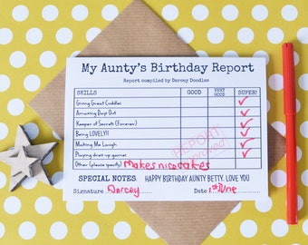 Personalised Aunty's Birthday Card - Birthday Report Card - Happy Birthday Card for Aunt