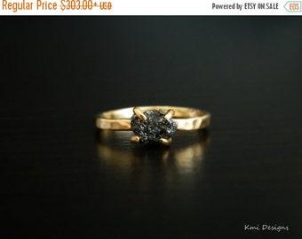 SALE, Black Diamond Ring, Engagement Ring, Raw Diamond Ring, Uncut Diamond Ring, Rough Black Diamond Engagement Ring