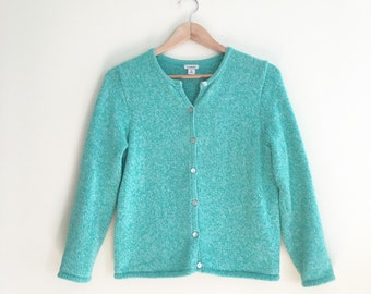 Vintage L.L. Bean Jade Green Cardigan Sweater // Heather Cropped Button Down Jumper // Classic Cotton Sweater // 1980s