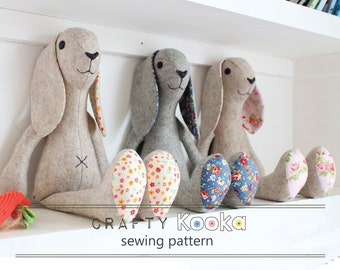 Stuffed animal pattern bunny rabbit instant download pdf pattern