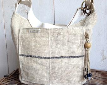 Antique linen bag, cross-body bag, shoulder bag, with cotton strap