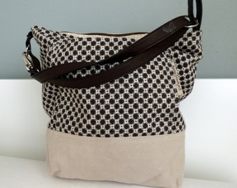 2 Tone Upholstery and canvas shoulder bag