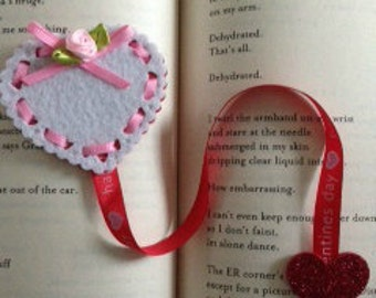 White and Red Heart Bookmark