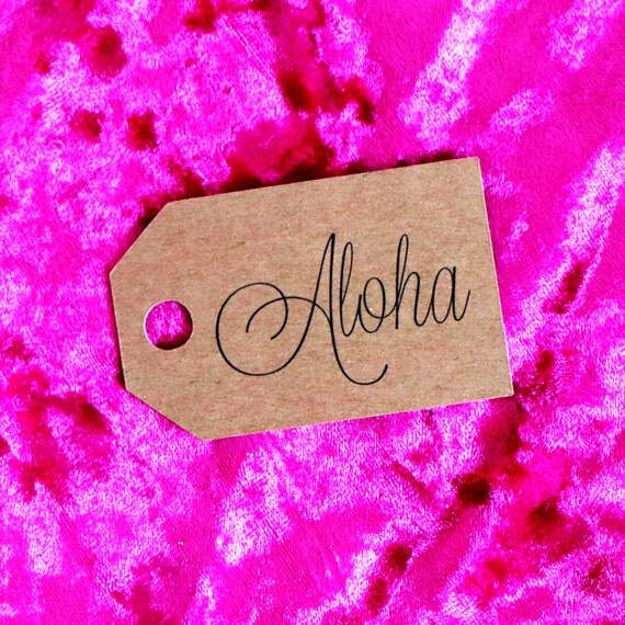 Aloha Favor Tags -  Kraft Hang Tags. Gift Tags. Wedding Favor Tags. Bachelorette Party Tags. Bridal Shower Tags. Hawaiian Themed Party.