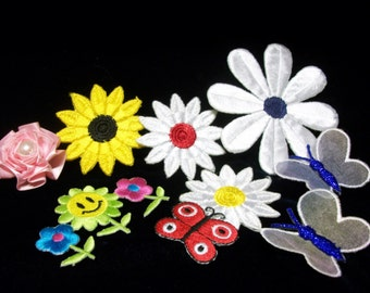 Flowers & Butterflies, sew on, glue on patches