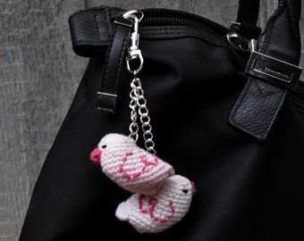 Purse charm/keychain/planner charm/zipper pull charm - two pink lovebirds