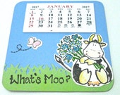 2017 Mini Calendar, what's moo?, cow calendar, pun calendar