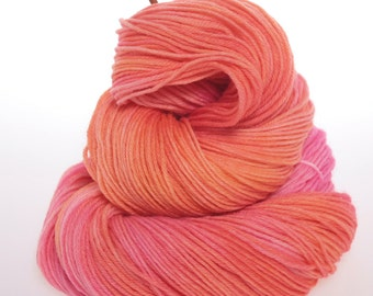 Sock Yarn 'Corals' - Hand dyed Sock Yarn, Hand dyed wool yarn