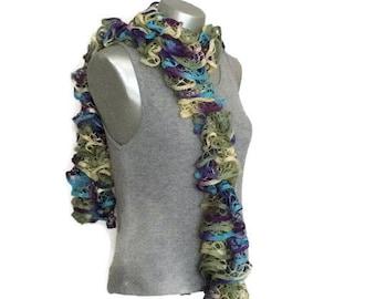 Ruffle scarf - Fashion - Casual - Yellow - Teal- Purple - Green -Hand knit