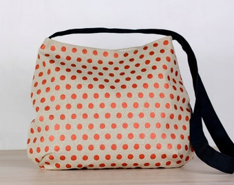 Messenger bag -  copper spots - linen/cotton - screen printed and handmade