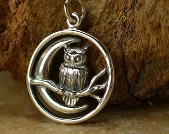 Sterling Silver Owl and Moon Charm