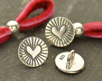 Sterling Silver Etched Radiant Heart Button