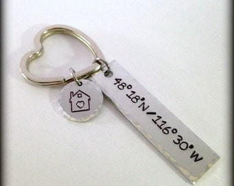 Home Coordinates Key Ring