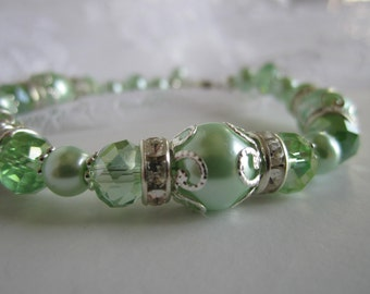 Mint Green Bridesmaid Bracelet Spring Wedding Maid of Honor Bridal Gift