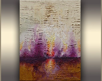 "10""x8"" ORIGINAL ABSTRACT Painting Purple Landscape Painting on stretched canvas original art by Tatjana Ruzin acrylic painting texture art"